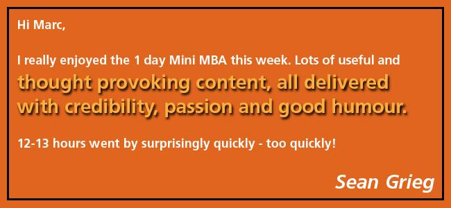 Testimonial, 1 Day Mini MBA, Dr Marc Dussault, Sean Grieg