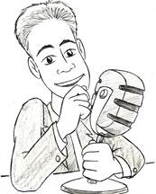 Marc Dussault Cartoon At MicroPhone