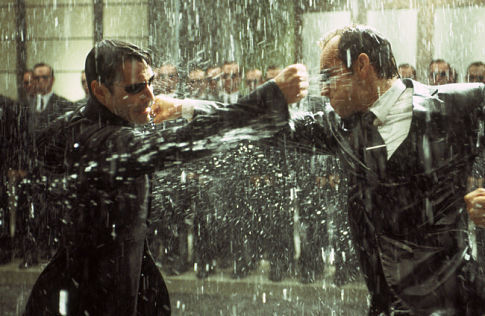 Neo And Agent Smith in The Matrix